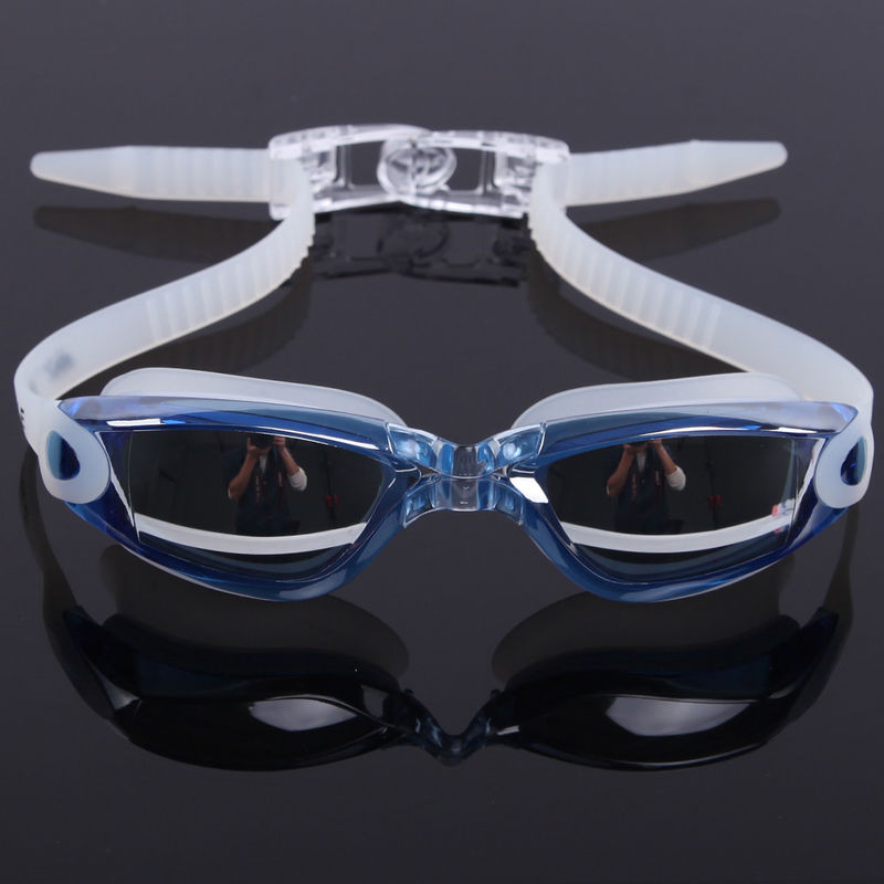 Mirror Coated Lenses Anti Fog Swim Goggles Anti Shatter , Easy Release Head Strap